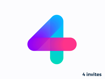 4 Dribbble invites number numbers four for four logo icon mark connection team together power invite 4 talent give giveaway away