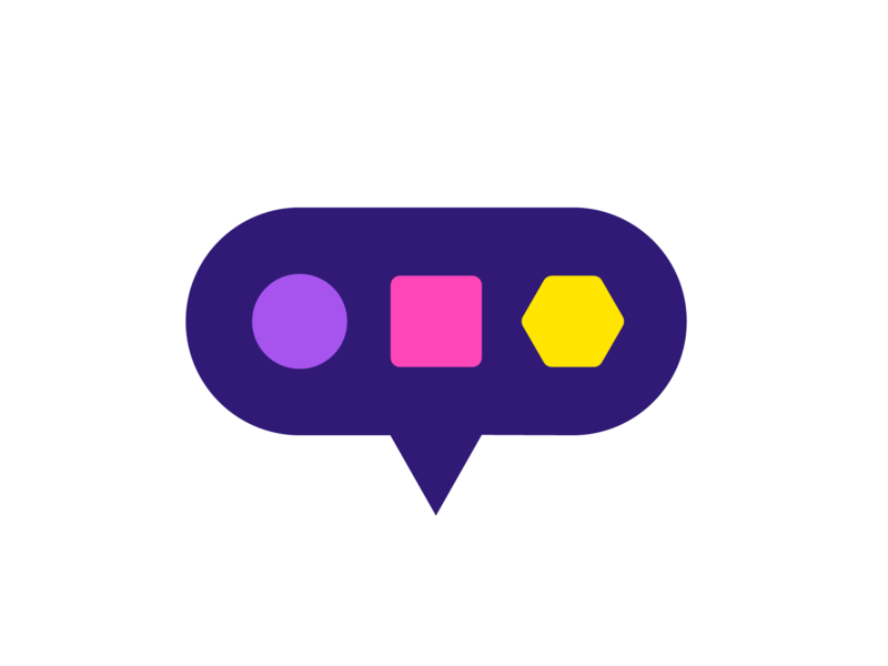 Dialect icon (Metaphor Challenge) square hexagon poligon game tech technology circle diversity colorful playful learn learner geometry geomtric logo mark brand identity language chat bubble speak
