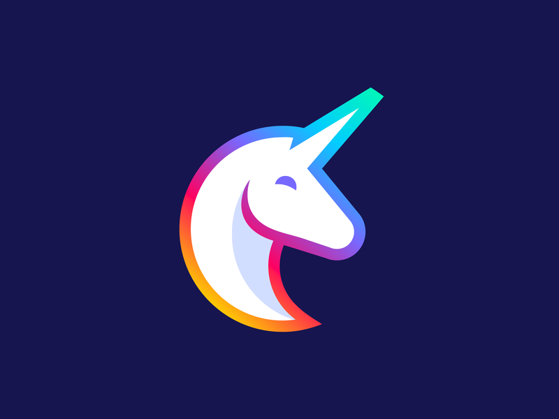 Unicorn logo animal animals horse confidence confident legend legendary power circle magic magical myth mythologic illustration charater happy pin gradient rainbow colorfull icon mark cartoon