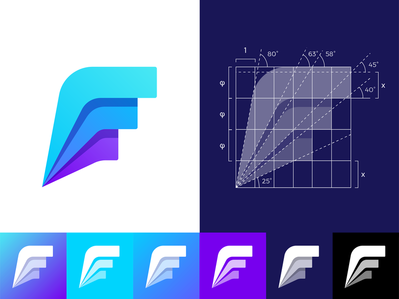 Grid Friday 5 | Golden ratio grid for Fitii logo leader first dynamic speed fitness app team stats brand  sportive letter leader sport  speed icon mark stats  f monogram logotype dynamic competition fit