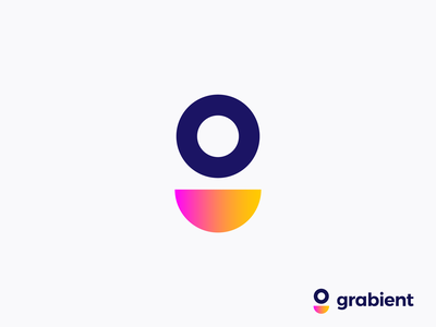 Grabient by unfold logo concept ( for sale ) abstract support ring trend gradients minimalistic modern smile circle gradient happy g letter monogram icon