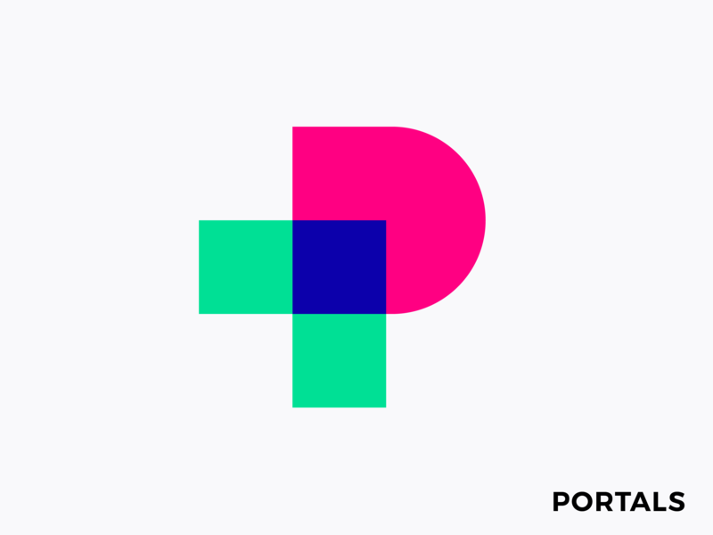 Logo concept for Augmented Reality platform mark icon brand branding experience app geometric simple social share events event power magical colors interactive spatial immersive world magic connection mark icon arrow transitation ar virtual p monogram letter lettering