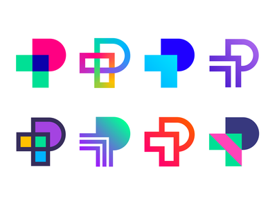 Logo concept versions for Portals | Augmented Reality platform style interaction magic identity virtual real world arrows technology tech spatial portal lettering pp cross ar dynamic gradient motion letter mark brand branding arrow p logo icons icon