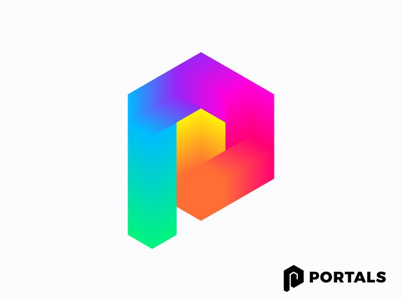 Abstract P for Portals (wip) | Augmented Reality platform icon mark brand branding virtual technology tech logo portal labirynt ar p hexagon colorful