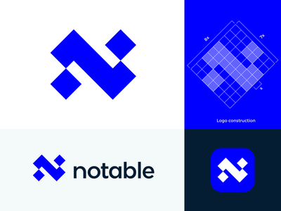 Abstract N monogram for Notable ( for sale ) news platform branding z abstract future modern geometry square icon geometric logo logos icon mark people leader technology science interaction brand branding mark grid app portal social n monogram letter lettering