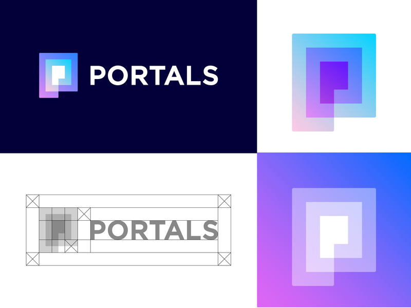 PORTALS approved logo design logo design designer cosmos futurism futurist modern simple spiral portal tunnel logos mark app brand technology gradient colors icon augmented reality ar tech p monogram geometric virtual