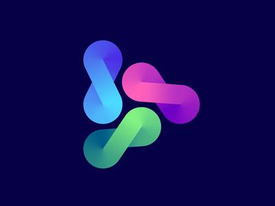 Infinite play logo concept video sound animation math data ar 3d motion arrow triangle forward geometry learning number infinity app icon mark marks sign brand branding identity logo play infinite limitless arrow