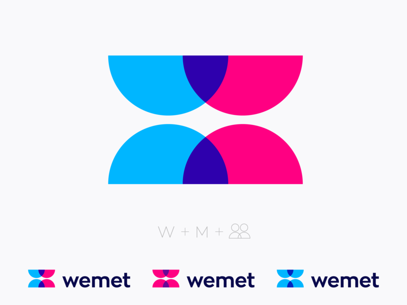 Logo concept for dating app wm leter w m branding identity mark face brand logo icon app togheter person geometric women man sex we love couple gay lgbt friends friendly date dating meeting kiss kissing hug mw monogram people