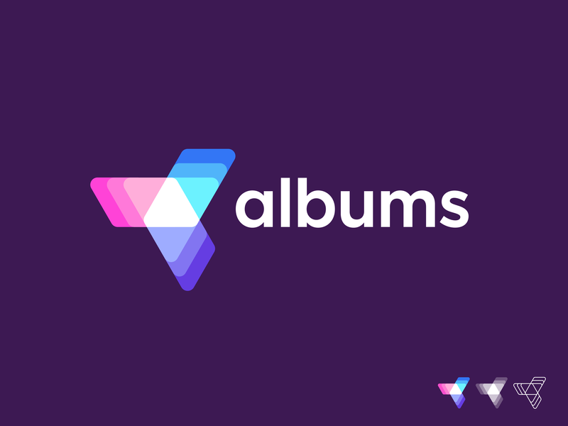 Albums logo concept 01 album video sharing togetherness star impressive futuristic trend brand vadim carazan dynamic golden ratio layers mobile photo image young modern a letter triangle geometry people photos video connection social network share sharing logos mark icon app branding