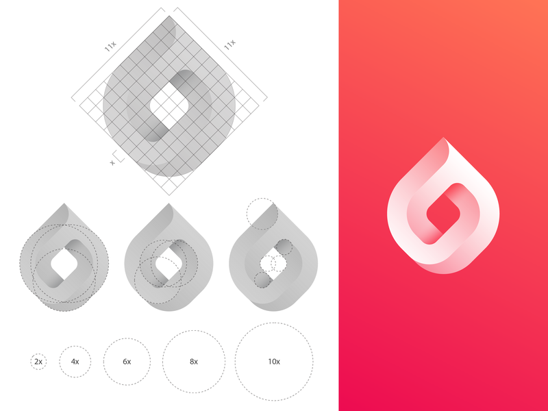 GridFriday 9 | Infinite fire logo grid heart passion logos brand identity togetherness modern meet connection social socialize gradient drop 3d endless date dating app caring care flame impossible object love dating mark fire icon infinite logo grid gridfriday branding