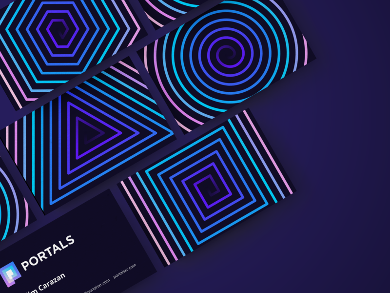 PORTALS business card design concept p monogram mark magic magical gradient logo space black hole universe reality augmented 3d app virtual crypto future technology tech portal spiral ar business cards pattern branding