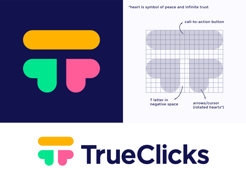 TrueClicks logo concept pt.2 truth honesty peace smart space letter click true call action button negative t monogram heart arrow branding