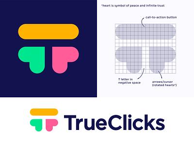 TrueClicks logo concept pt.2 truth honesty peace smart space letter click true call action button negative t monogram heart arrow branding