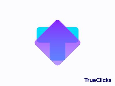 T + arrow + transparency logo concept honesty trust search paid marketing sales clicks truth logos motion gradient square growth up click cursor t letter monogram transparent branding