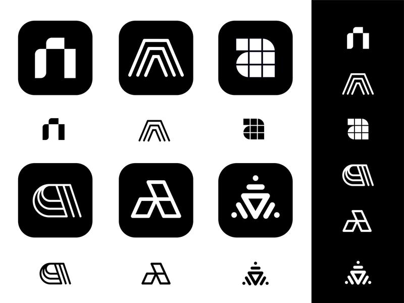 A monograms logo logos mark design brand branding vadim carazan social media design typography triangle files photo icon app letter lettering social albums a monogram branding