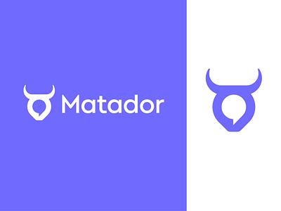 Matador logo design   Chat platform space box customer conversation brands brand logos negative icon mark vadim carazan bull speak chat bubble branding