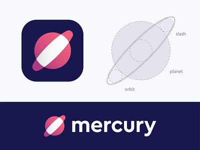 Mercury logo ( sold ) orbit app brand vadim carazan mercury slash coding code planet cosmos cosmic sun branding