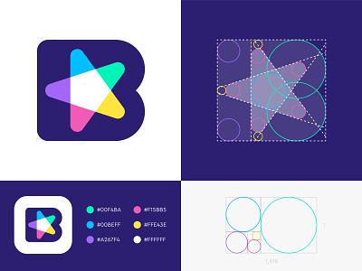 GridFriday 10 | B star logo grid ( for sale ) colorful fun pentagon geometry golden ratio negative space brands vadim carazan design photo editing edit brand monogram logo icon app branding
