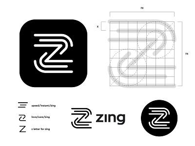 Zing logo concept pt.3 (wip) phone apps brand brands icon mark digital online instant create creation app letter monogram lettering z speed lines care love branding