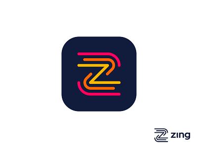 Zing logo concept pt.3 (color version) carazan brands vadim identity logo icon app brand movement lines dynamicity letter speed fast energy moving z monogram motion dynamic branding