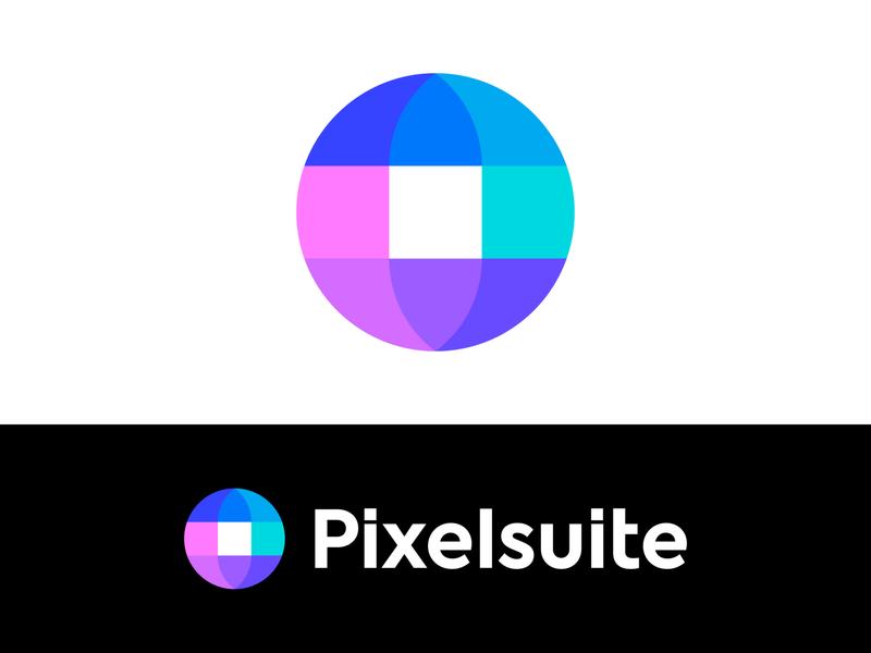 Globe + Pixel logo concept for website builder startup colorful modern suite tool brand branding logo icon editor circle geometric planet connection earth website builder web online pixel globe branding