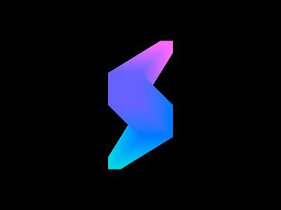 Bolt + S logo concept ( for sale ) brands vadim concept logos futuristic future brand carazan s monogram letter lettering lighting speed fast square logo icon logos light branding