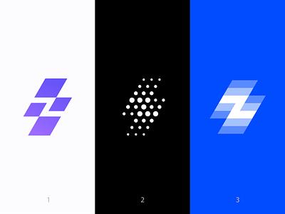 ZING logo versions ( for sale ) mark lettering geometric flash brand branding carazan vadim dots fast speed square bolt light lighting dot editing create apps builder z letter icon app branding