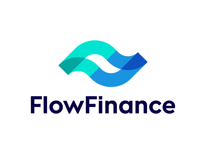 Flow Finance logo design bank banking  icon app wave ocean water fluid transfer deal negative space smooth currency crypto digital logos money growth chart lines trend flowing startup leaf nature fast speed f ff monogram waves brand carazan brands vadim branding logo