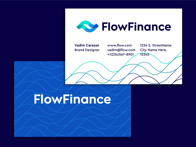 FlowFinance business card design business card branding logo