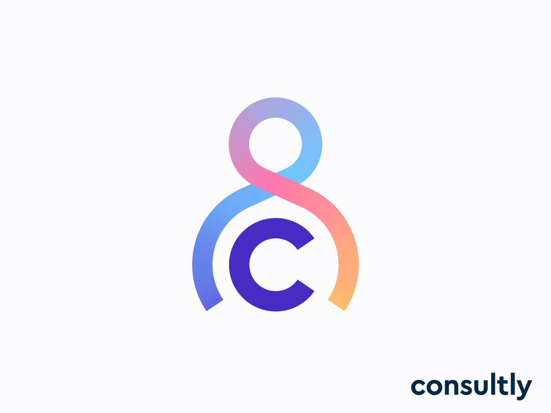 consultly logo concept pt.2 | online consulting platform user man hug experience icon app web gradient c monogram letter lettering human social client specialist care caring friendly love person consultant consult help branding logo