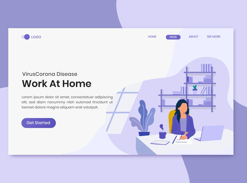 Virus Corona Disease Work At Home On Landing Page
