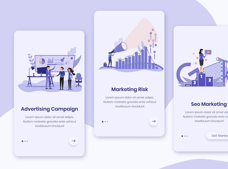 Advertising Campaign Onboarding App Screens