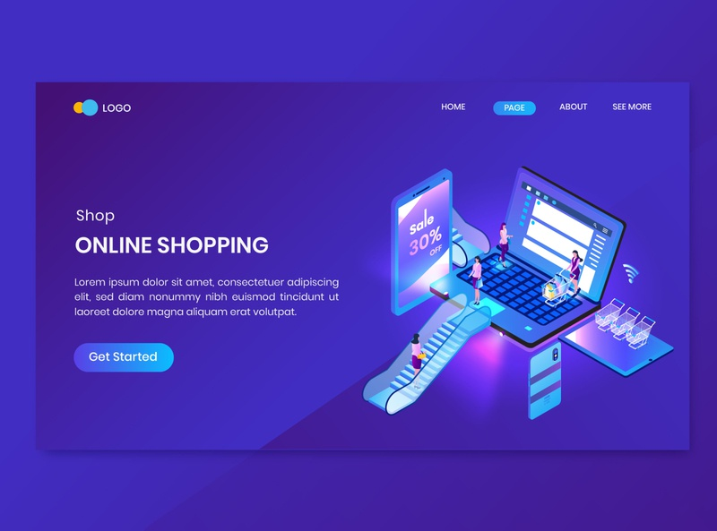 Sale Isometric Concept Landing Page website design illustration online store discount promotion shop commerce shopping dashboard isometry character vector 3d concept isometric sale
