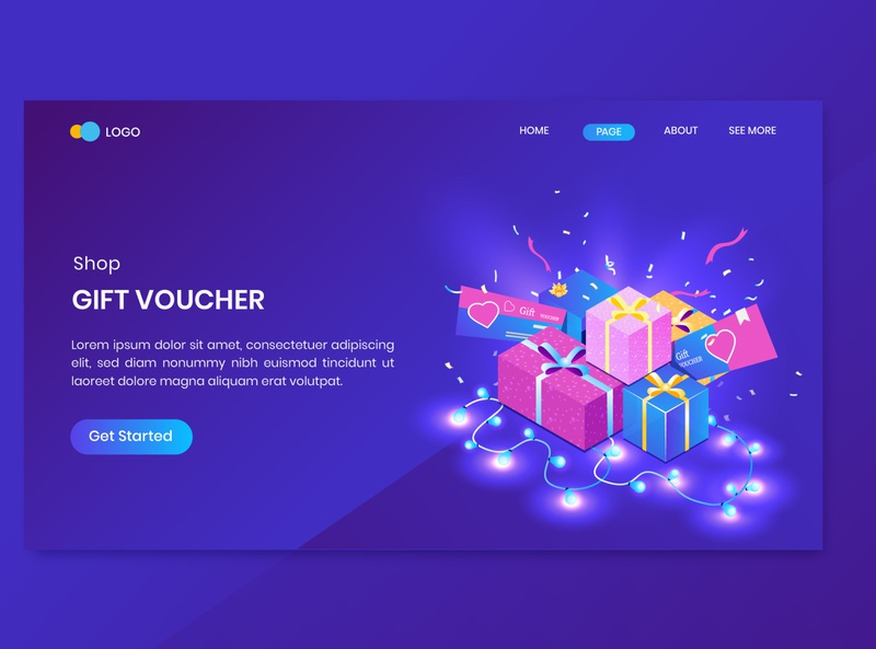 Shop Gift Voucher Isometric Concept Landing Page online store discount promotion shop commerce shopping dashboard isometry character vector 3d concept isometric sale