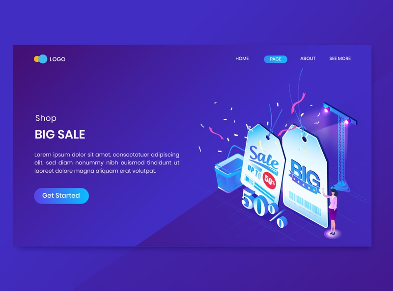 Big Sale Isometric Concept Landing Page flat business website online store discount promotion shop commerce shopping dashboard isometry character vector 3d concept isometric sale