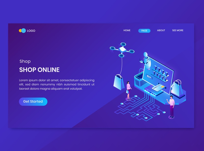Shopping Isometric Concept Landing Page flat landing illustration online store discount promotion shop commerce shopping dashboard isometry character vector 3d concept isometric sale