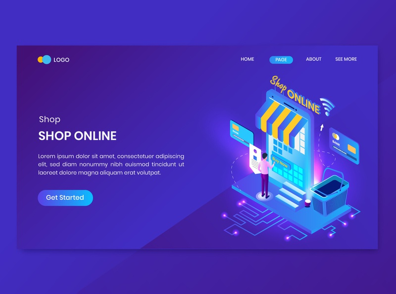 Shopping Online Isometric Concept Landing Page online store discount promotion shop commerce shopping dashboard isometry character vector 3d concept isometric sale