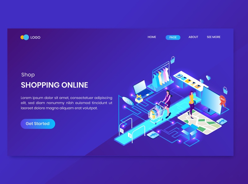 Online Shopping Isometric Concept Landing Page online store discount promotion shop commerce shopping dashboard isometry character vector 3d concept isometric sale
