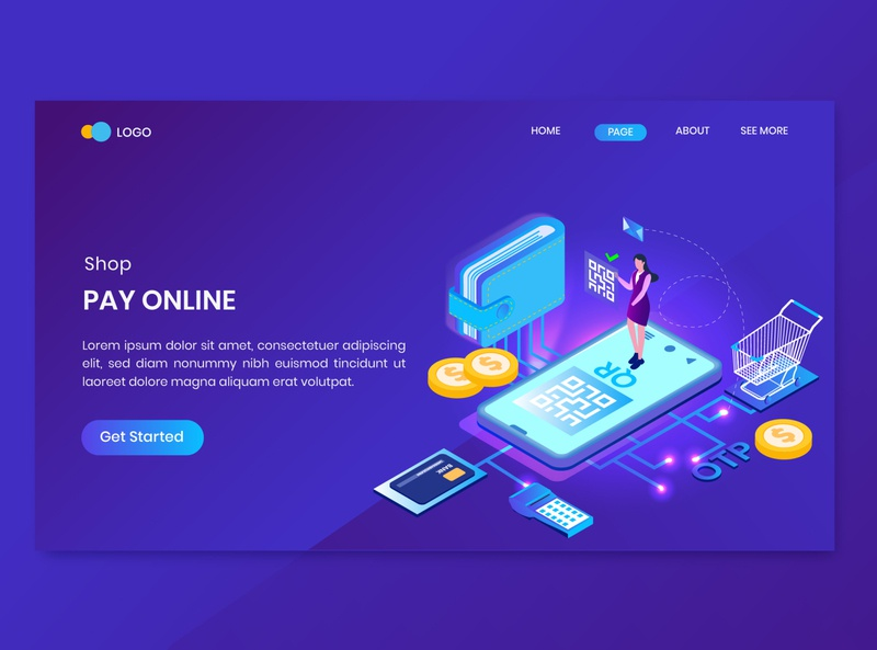Pay Online Isometric Concept Landing Page landing website illustration discount distribution delivery order store shop service shopping app mobile payment concept isometric online pay