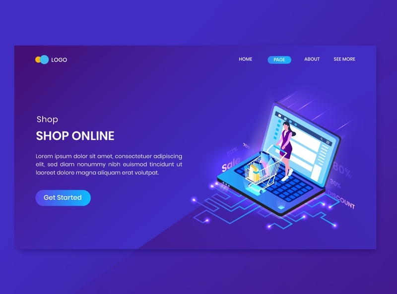 Shopping Isometric Concept Landing Page character concept website order online shop commerce isometry business people illustration vector 3d design page landing isometric shopping
