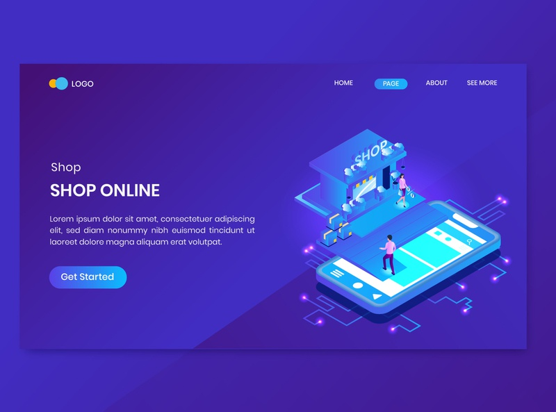 Shopping Online Isometric Concept Landing Page 3d website illustration smartphone discount order store shop present app mobile payment page landing concept isometric online shopping
