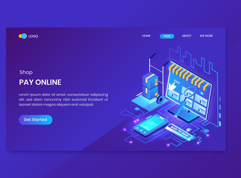 Shopping Pay Online Isometric Concept Landing Page concept flat website order online shop commerce isometry business people illustration vector 3d design page landing isometric shopping
