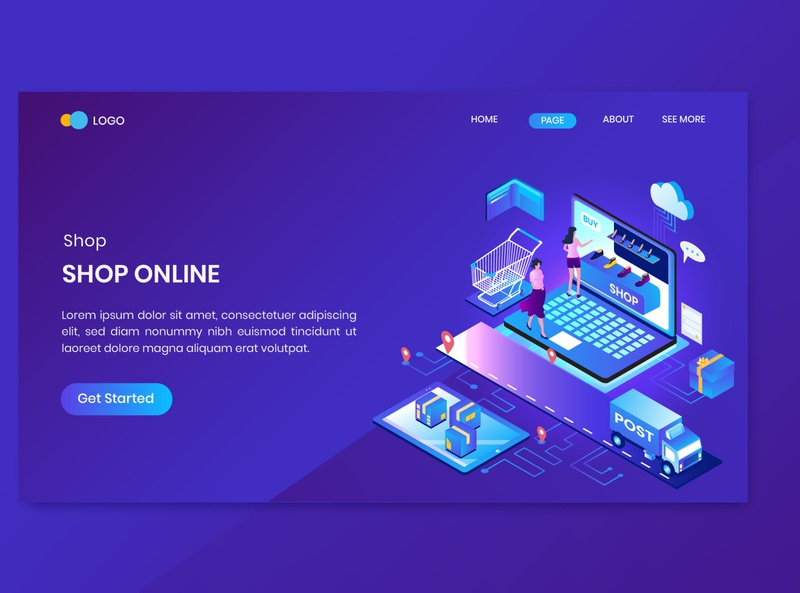 Shopping Isometric Concept Landing Page website illustration 3d smartphone discount order store shop present app mobile payment page landing concept isometric online shopping