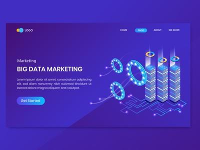 Big Data Isometric Concept Landing Page character ui online illustrator vectors business 3d internet seo marketing digital website illustration vector page landing concept isometric data big