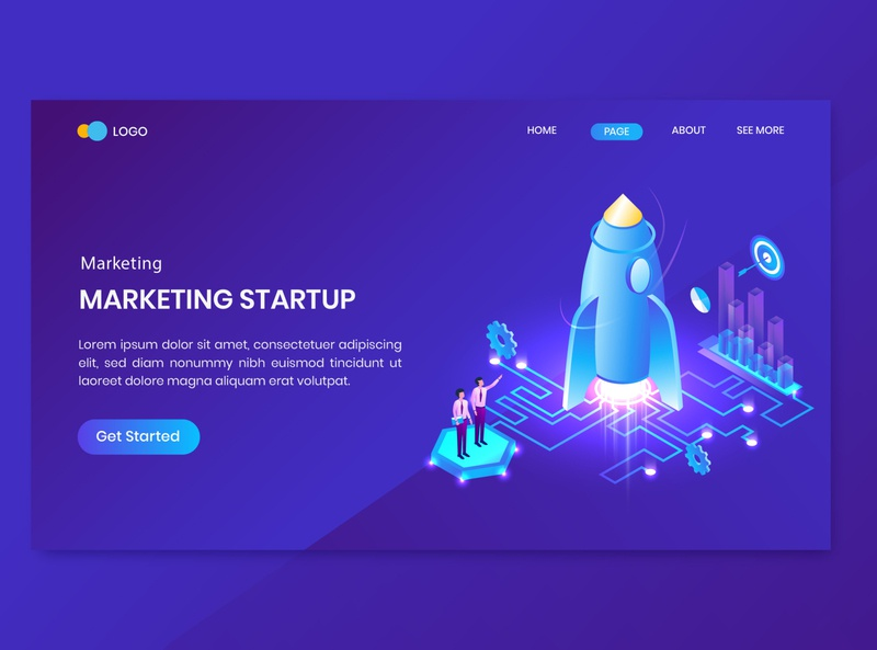 Isometric Business Startup Concept Landing Page shopping branding character flat 3d internet seo marketing digital website illustration vector data big page landing concept startup business isometric