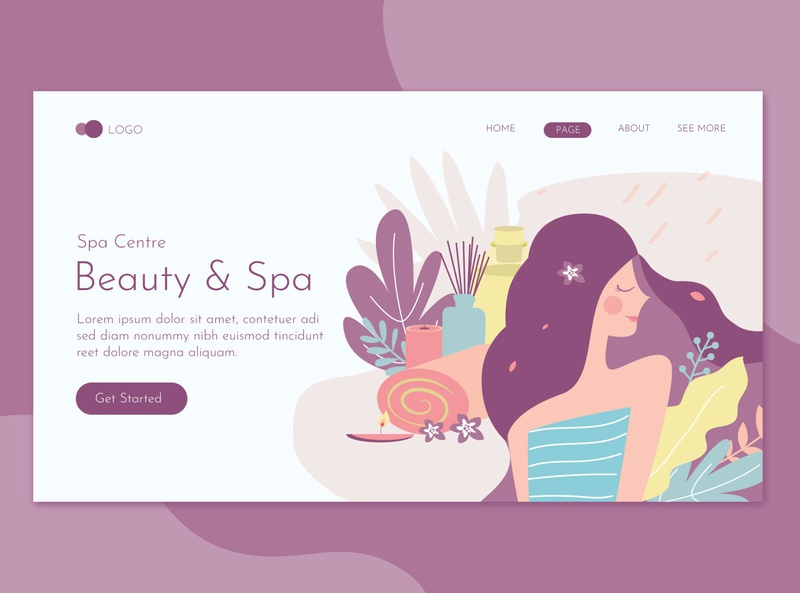 Beauty Spa Center Landing Page Flat Concept website landing illustration promote templates beauty clinic women skin salon print massage health deluxe flyer spa care