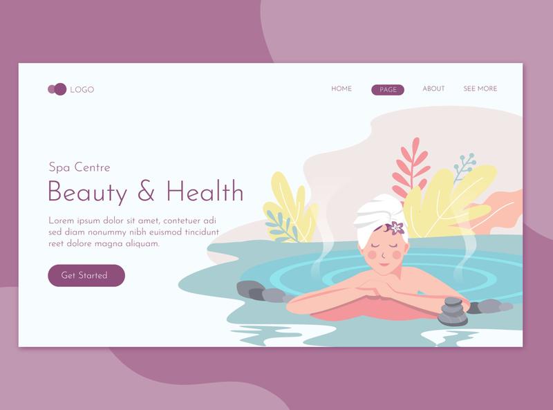 Beauty & Health Landing Page Template landing website illustration promote templates beauty clinic women skin salon print massage health deluxe flyer spa care