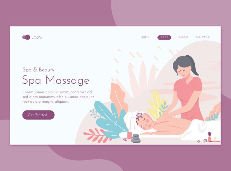 Spa Massage Wellness Salon Flat Concept landing website illustration promote templates beauty clinic women skin salon print massage health deluxe flyer spa care