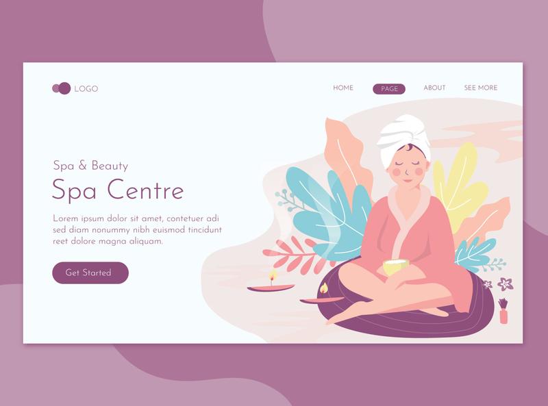 Beauty & Spa Landing Page Flat Concept landing website illustration promote templates beauty clinic women skin salon print massage health deluxe flyer spa care