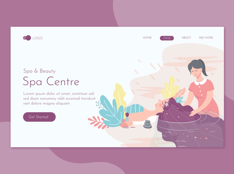 Spa Massage Salon Landing Page Flat Concept promote templates beauty clinic women skin salon print massage health deluxe flyer spa care